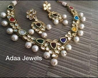 Multi colour Kundan set