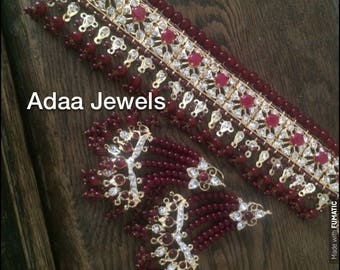 Maroon Hyderabadi choker earrings bridal set jadavi lacha karanphool wedding jewellery Indian Jewelry bridal Bollywood jewellery jhumka