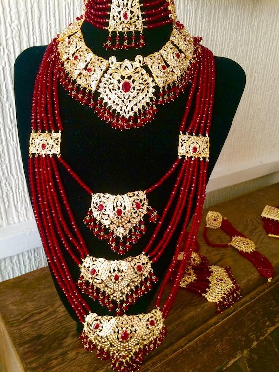 Tradicional indio Gargantilla firoza Joyería Nupcial Kundan Collar Aretes Tikka
