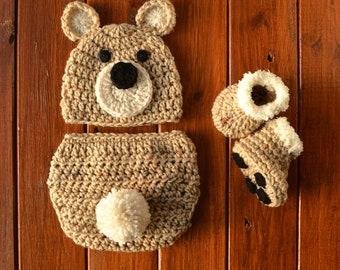9e17d614d235 Crochet Newborn Baby Bear Outfit Set Costume Newborn Photo Outfit Boy  Crochet Bear Outfit Bear Photo Prop Outfit Baby Shower Gift Bear Hat