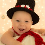 Snow Baby Outfit, Crochet Snow Baby Outfit, Snow Outfit For Baby, Snowman Top Hat, Christmas Baby Outfit, Baby Black Top Hat Photo Prop