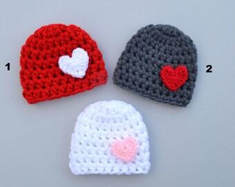 9c87d830e43 Valentine s Day Hat Crochet Baby Hat Girl s Valentine Hat Baby Valentine s  Day Baby Boy Hat Red Gray White Baby Valentines Hat Crochet Baby