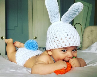 45a5a6a4a3f Baby Boy Bunny Outfit Baby Bunny Outfit Photography Prop Easter Bunny Set  Easter Baby Outfit Newborn Bunny Easter Baby Boy Hat Handmade