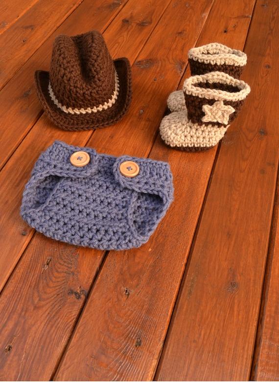Newborn Cowboy Outfit Cowboy Hat and Boots Set Knit Cowboy Hat  db2f63fd20c8