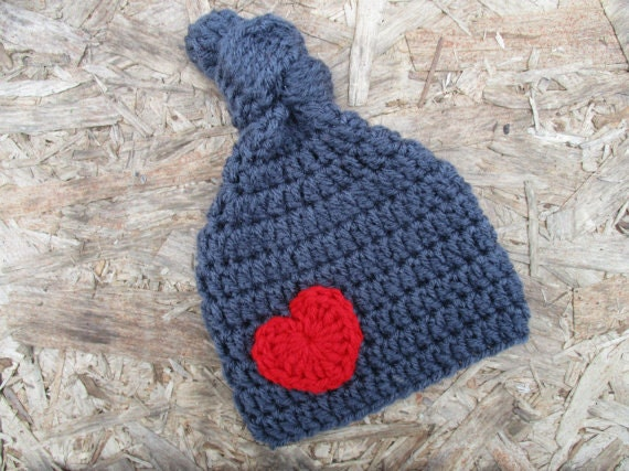 259d9d9b67b Crochet Valentine s Day Knot Top Heart Beanie Hat Infant
