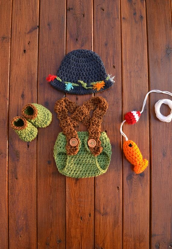 f02a96c251882 Crochet Newborn Baby Fishing Fisherman Outfit Set Newborn Boy | Etsy