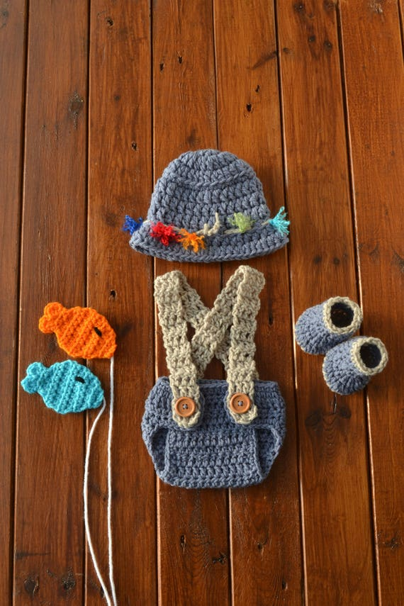 Crochet Newborn Baby Fisherman Photo Prop Outfit Baby Etsy