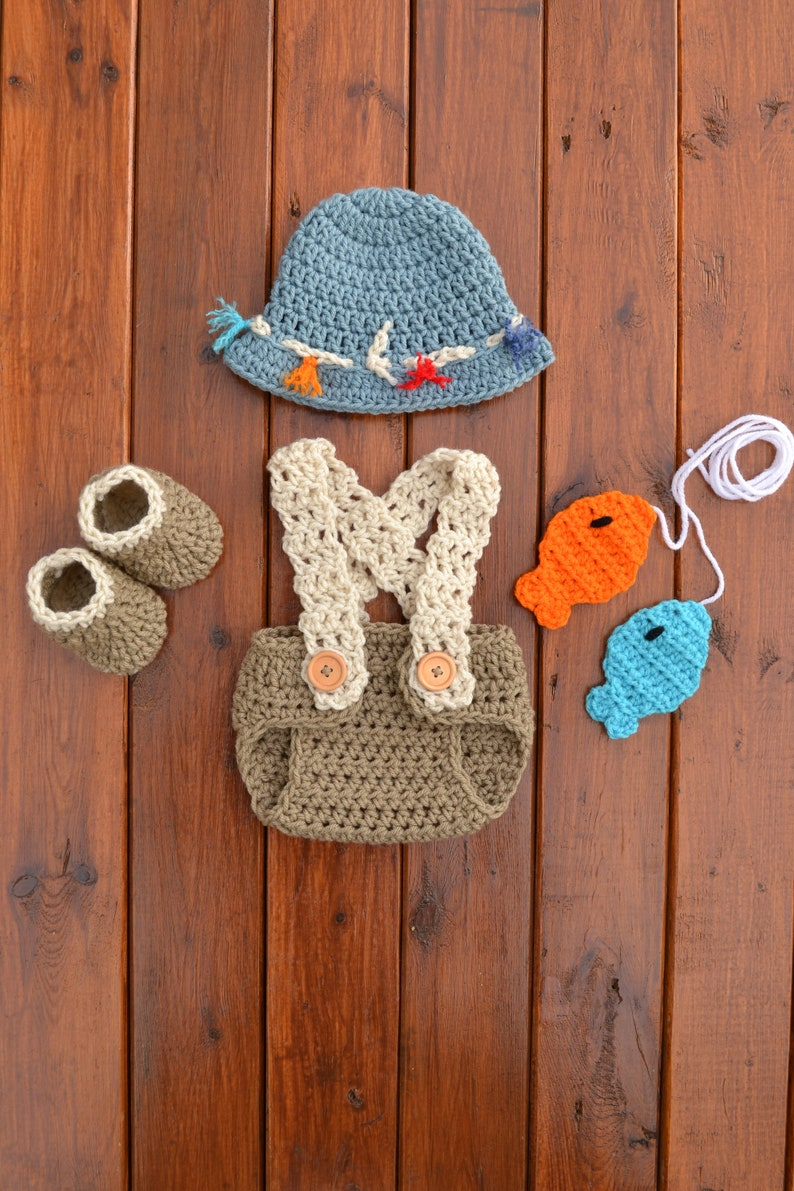 e3b8c1703 Newborn Baby Fishing Outfit Baby Boy Fisherman Outfit Crochet Fishing  Outfit Baby Boy Photography Prop Handmade Fishing And Bobber Set
