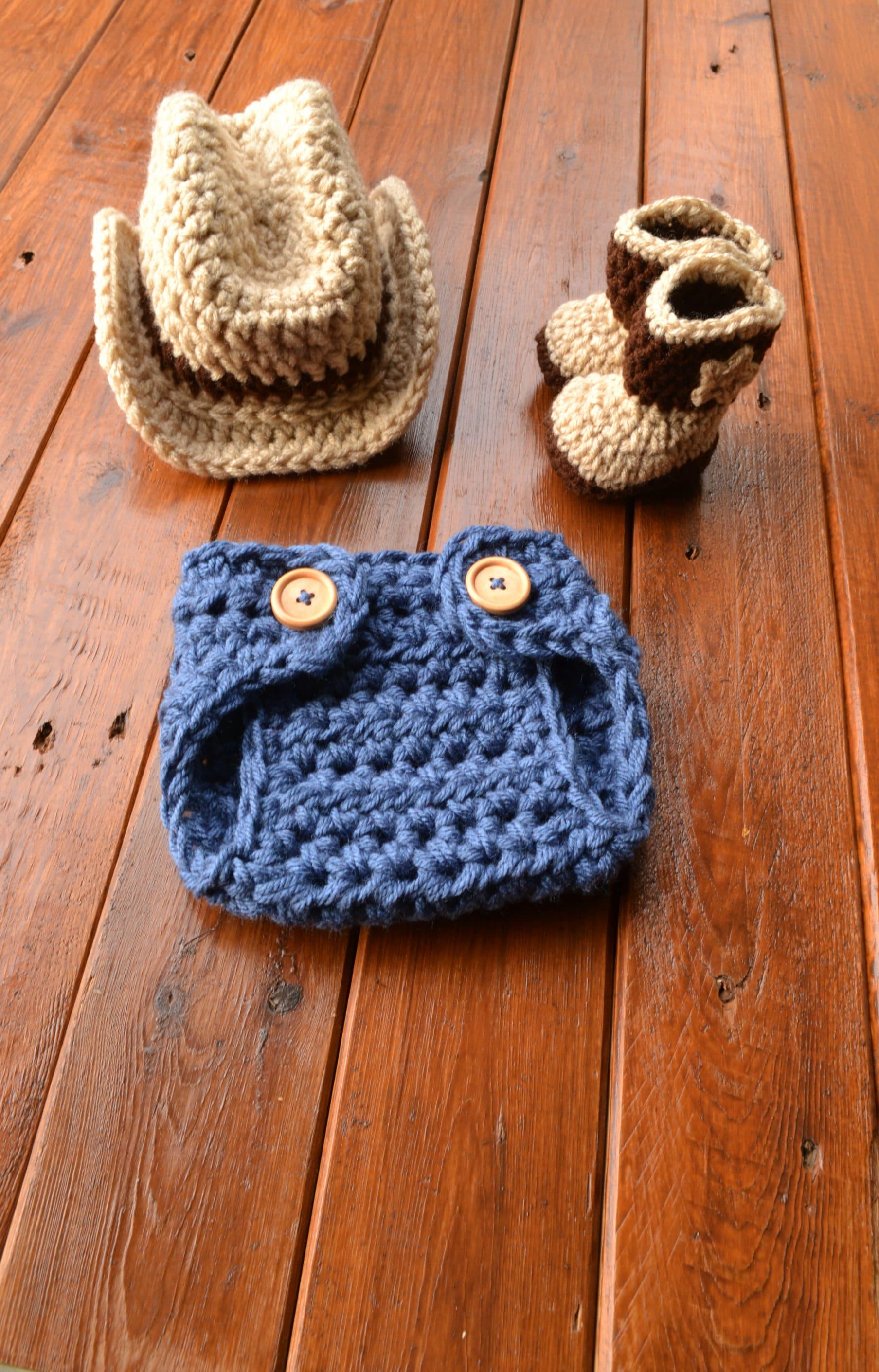 f6b9eb9f0f52b Crochet Baby Cowboy Outfit Cowboy Hat and Boots Set Newborn