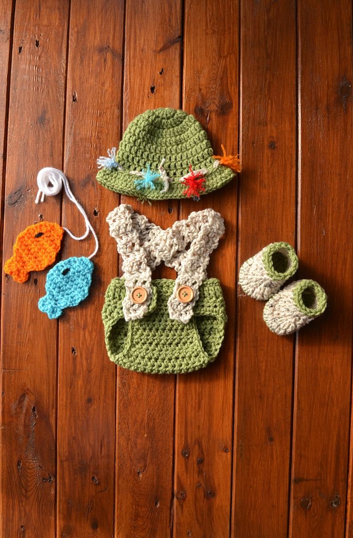 d4a96b3b043b7 Crochet Baby Fisherman Set Baby Fishing Hat Newborn Baby | Etsy