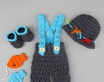 Newborn Baby Boy Photo Prop Outfit Newborn Fishing Outfit Fly Fishing Baby Fishing Outfit Newborn Photo Outfit Crochet Baby Outfit