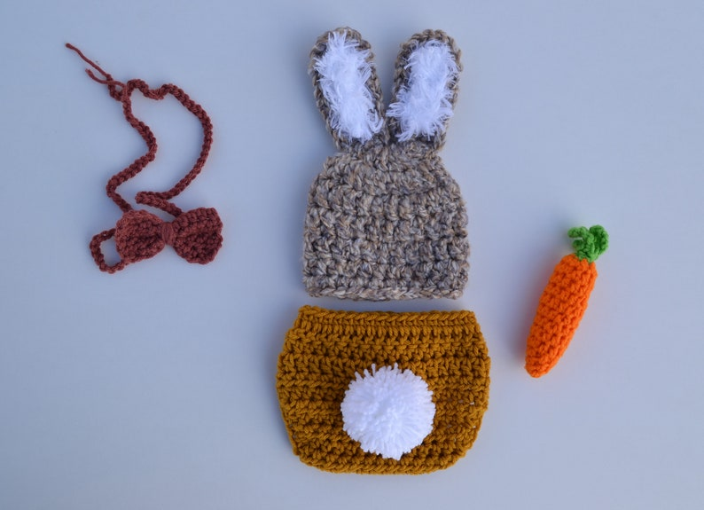 50fc7c3ce Crochet Bunny Outfit Newborn Baby Bunny Easter Outfit Bunny Hat Bowtie  Carrot and Diaper Cover Set Baby Boy Girl Bunny Outfit Photo Prop Set