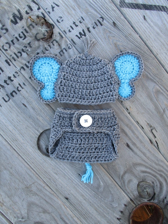 f340ced2c83 Gray Blue Newborn Baby Elephant Hat and Diaper Cover Set