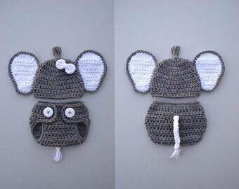 Crochet Baby Elephant Outfit Newborn Baby Girl Boy Elephant Costume Newborn Baby Photo Props Newborn Boy Photo Outfit Baby Shower Gift