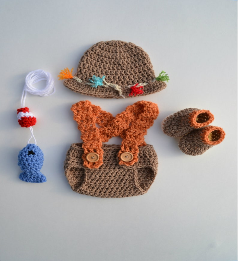 75bf76859 Crochet Newborn Baby Fishing Outfit Set Baby Fisherman Fishing Hat Fish  Diaper Cover Boots Baby Photography Photo Prop Picture Gift Handmade