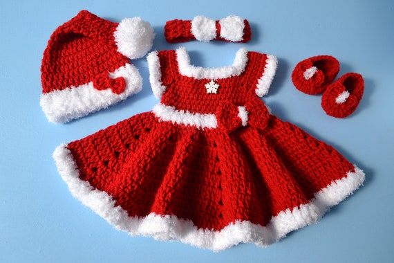 f7c22ff8f Crochet Newborn Baby Girl Christmas Santa Dress Outfit Set Baby Girl Outfit  Baby Photo Prop Newborn Photo Outfit Girl Baby Girl Red Dress
