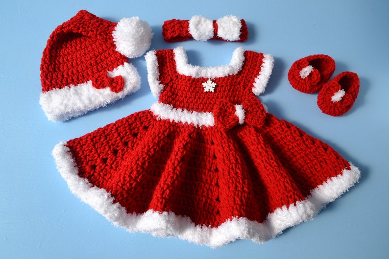 52ca3bf6f0a80 Crochet Newborn Baby Girl Christmas Santa Dress Outfit Set Baby Girl Outfit  Baby Photo Prop Newborn Photo Outfit Girl Baby Girl Red Dress