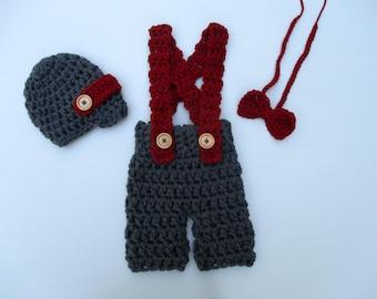 Infant Newborn Baby Valentines Set Newborn Boy Photo Prop Outfit Crochet Baby Valentine's Day Bow Tie Pants  Baby Shower Gift Present