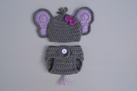 22c41030e4a Crochet Elephant Outfit Newborn Baby Elephant Hat Diaper Cover