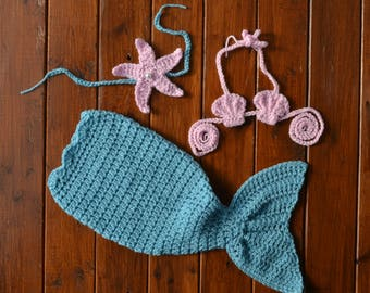 Crochet Mermaid Tail Infant Mermaid Tail Baby Mermaid Newborn Mermaid Tail Crochet Mermaid Costume Baby Girl Photo Outfit Newborn Mermaid