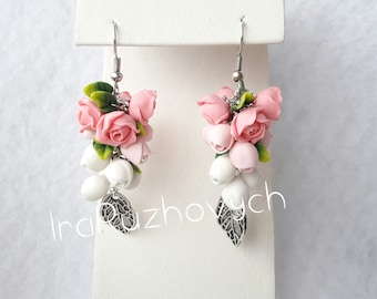 Rose Flower bunches earrings