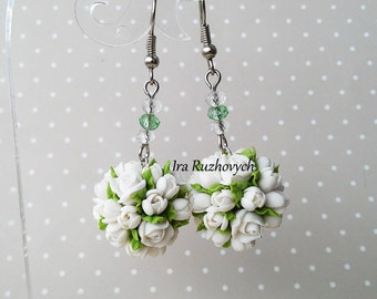 white earrings and pendant  , polymer clay flowers