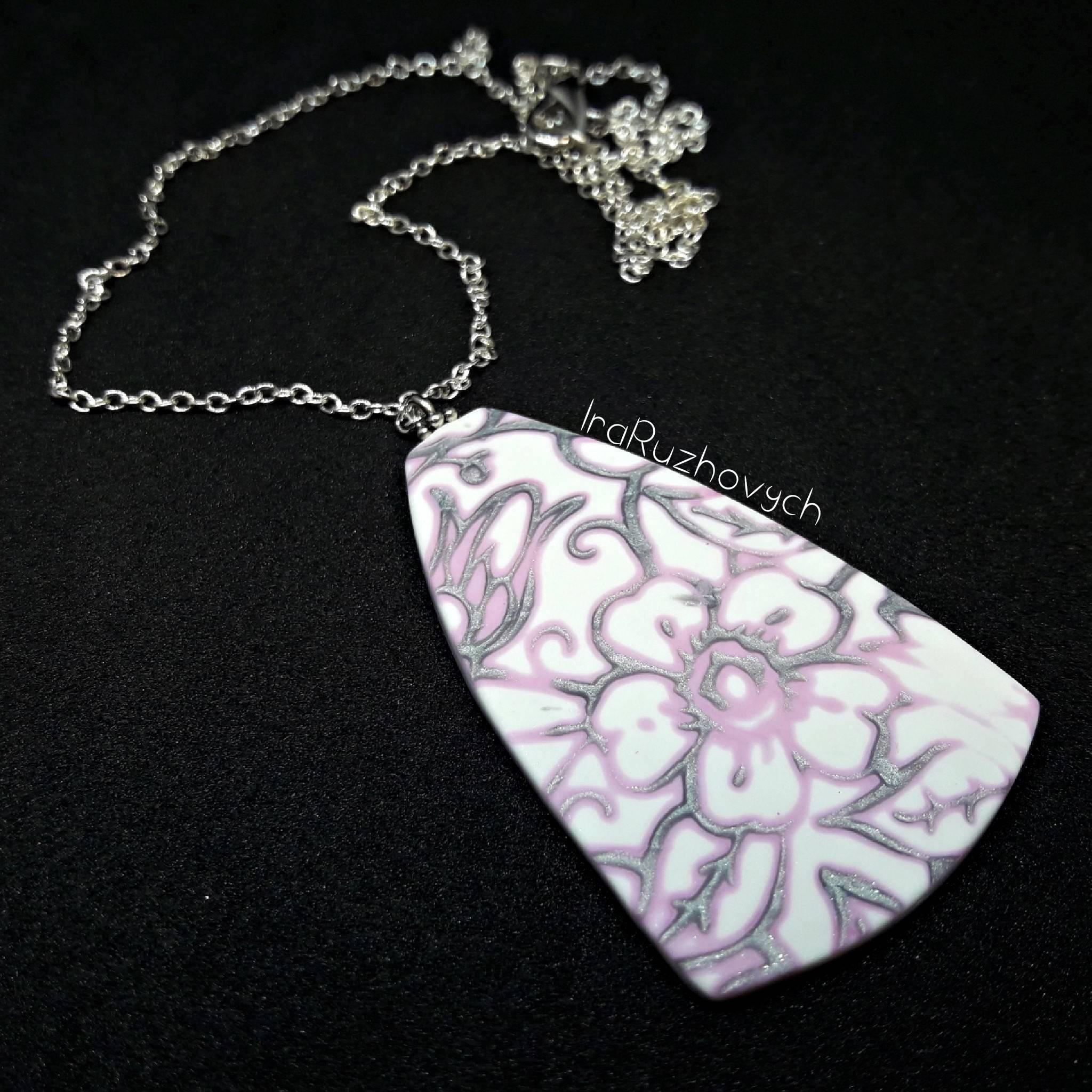 Mokume Gane Earrings: Mokume Gane Pendant Hand Made Flowers Polymer Clay Jewelry