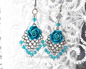 Blue roses earrings, long stone earrings