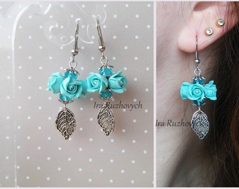 Flower  earrings, roses, long earrings