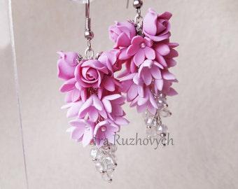 Pink Flower bunches earrings, roses, syringa, long earrings