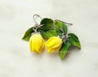 Yellow tulip flower  earrings