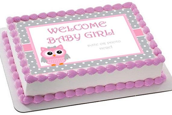 Baby Shower Edible Cake Topper Baby Shower Cake Image Owl Etsy