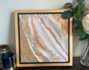 """SOLD OUT Coral, White, Grey, and Gold Framed Painting Resin Texture 14"""" x 14"""""""