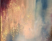 "Gold Leaf Painting Blue Long Abstract - ""Attraction"" in 16"" x 40"""