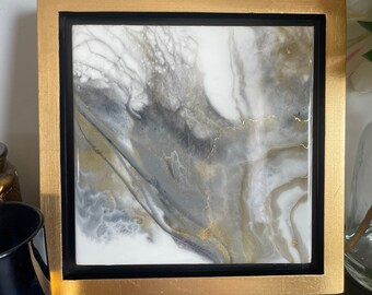 """Grey, White and Gold Framed Painting Resin 10"""" x 10"""""""