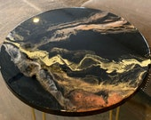 "23"" Black Gold Blush Resin Side Table with hairpin legs"