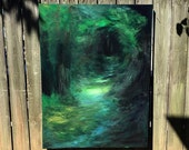 "SOLD - Forest Woods Dark Green Abstract Painting - Lord of the Rings, Smoky Mountains 36"" x 48"""