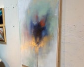 """Large Abstract Gold Painting 36"""" x 48"""" Mint, Navy, White, Red"""