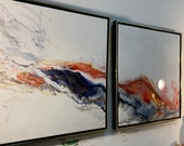 "Large Abstract Painting Diptych ""Fire and Ice"" series 24"" x 24"" each or custom size"