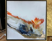 "Resin Art Framed Painting Gold Red Navy ""Fire and Ice"" 24"" x 24"""