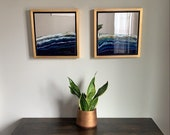 "Ocean Art on Mirrors, Framed Series 14"" x 14"" each"
