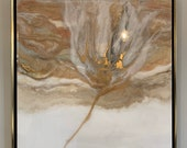 """Gold Abstract Painting in Resin Framed - """"Windblown"""" 24"""" x 24"""" plus 1"""" frame"""