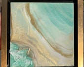 """Mint Painting Crystal Geode islands Small Resin Painting 10"""" x 10"""" Framed """"Mint from Above"""""""