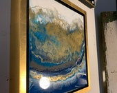 "Gold Resin Painting Ocean Blue Abstract ""Aerial Coast"" 12"" x 12"" framed"