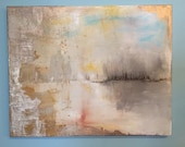 "Abstract Lake Gold Leaf Painting - 20"" x 24"" Original Art ""Golden Window to the Water"""