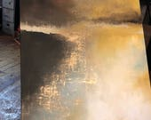"SOLD Large Painting Gold Landscape Abstract in 36"" x 48"" by ErinEliseArtiste"