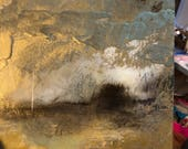 "SOLD Resin Gold Painting Art Landscape 8"" x 8"" on wood  - ""Winter Warmer"" Series"