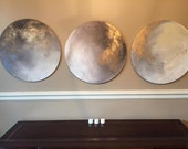 "Round Art Gold Leaf Moon Series - 20"" or Custom or Series - ""Many Moons Ago"" by ErinEliseArtiste"