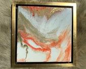 Resin Art Painting Framed Pink Red Gold White