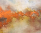 "Sunset White Abstract Landscape Painting ""Twilight Rising"" 36"" x 36"" available now"